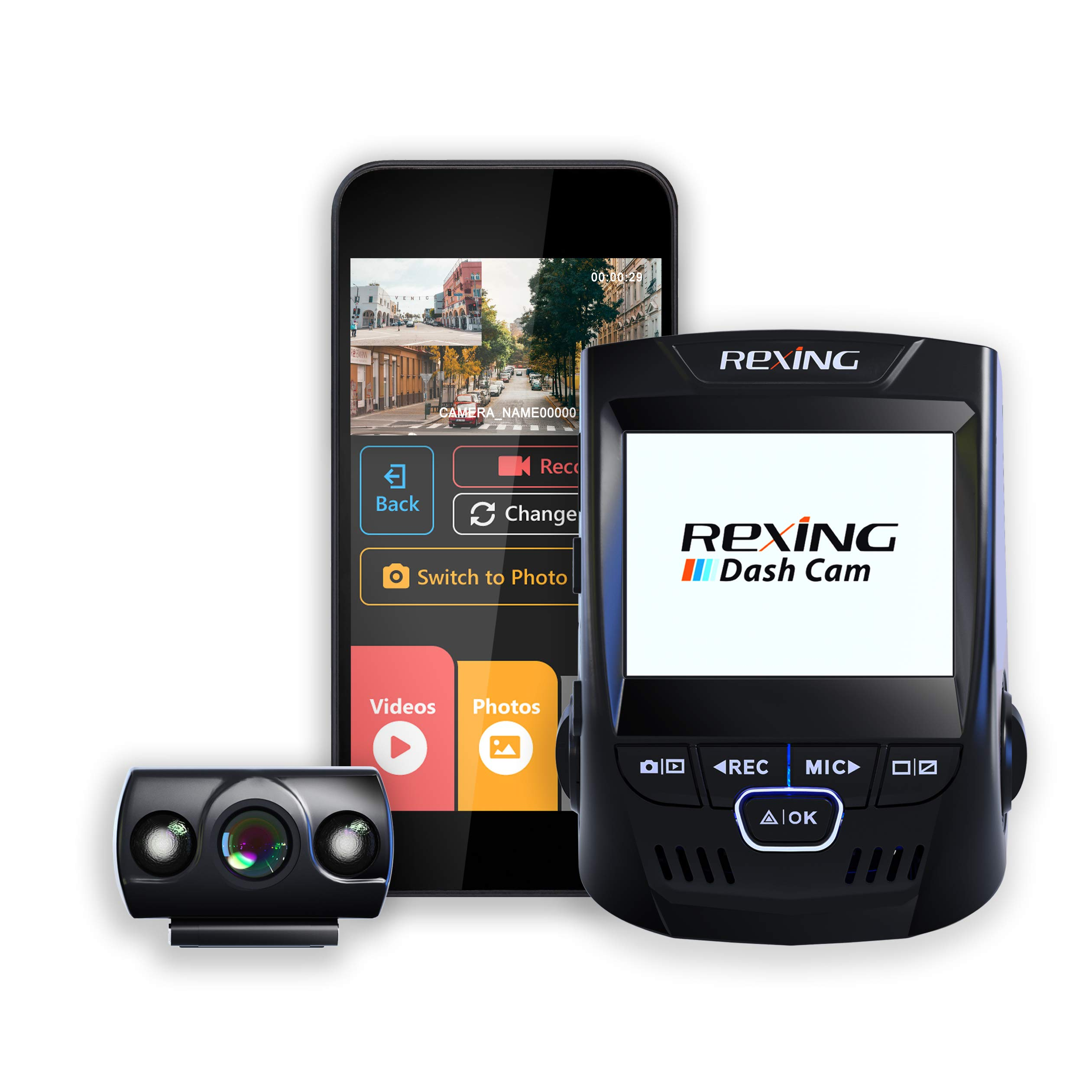 Rexing V1P 2.4'' LCD FHD 1080p 170 Degree Wide Angle Dual Channel Wi-Fi Dashboard Camera Recorder Car Dash Cam with Rear Camera, Supercapacitor, G-Sensor, WDR, Loop Recording, Mobile App by REXING