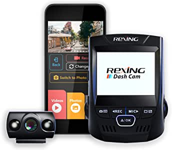 "Rexing V1P 2.4"" LCD FHD 1080p 170 Degree Wide Angle Dual Channel Wi-Fi Dashboard Camera Recorder Car Dash Cam with Rear Camera, Supercapacitor, G-Sensor, WDR, Loop Recording, Mobile App"