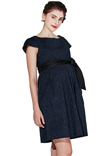 73652a31beb64 Sweet Mommy Maternity and Nursing Short Sleeve Waist Tie Stretch Jacquard  Dress: Amazon.ca: Clothing & Accessories