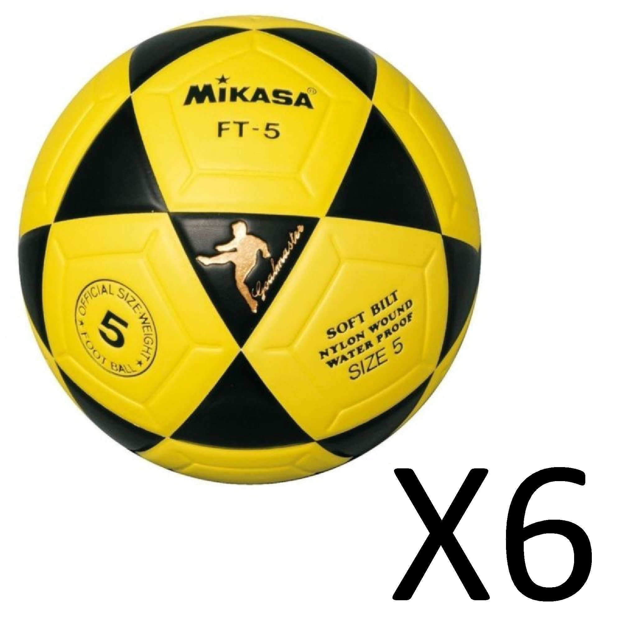 Mikasa Official Goal Master Soccer Football Ball Size 5 Yellow w/ Black (6-Pack)