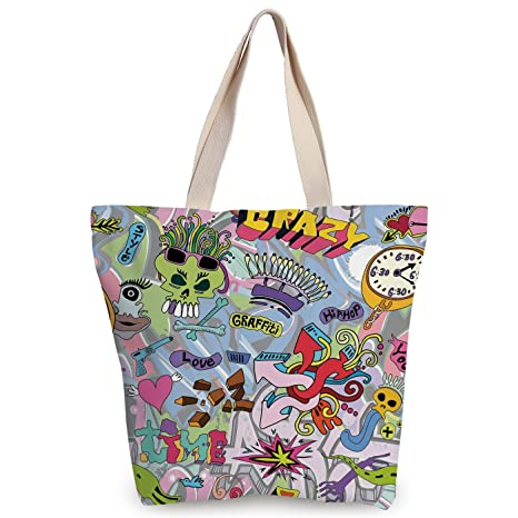 Funky canvas tote bagarthip hop inspired colorful graffiti doodle crazy love time