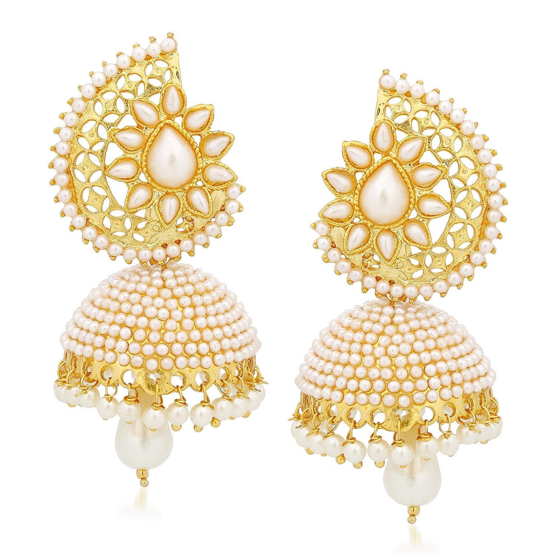 Buy Rich Lady Gold White Brass Jhumka Earrings For Women, RLDER ...