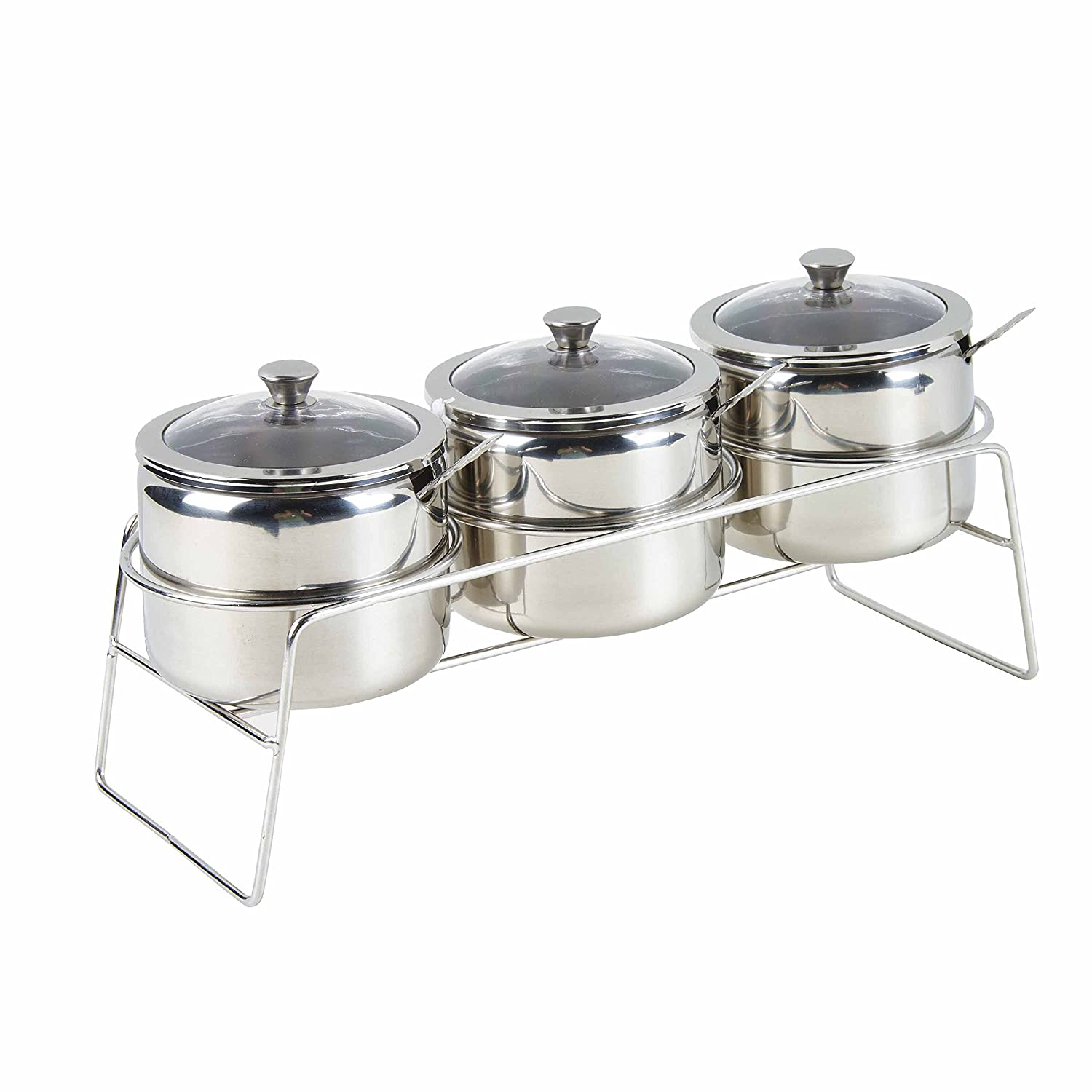 UniTendo Set of 4 Acrylic Seasoning Box Storage Container Condiment Jar Condiments Server Pots - Cream and Sugar Canister,Dip Bowls Set with Lids,Spoons&Tray KINBEDY?