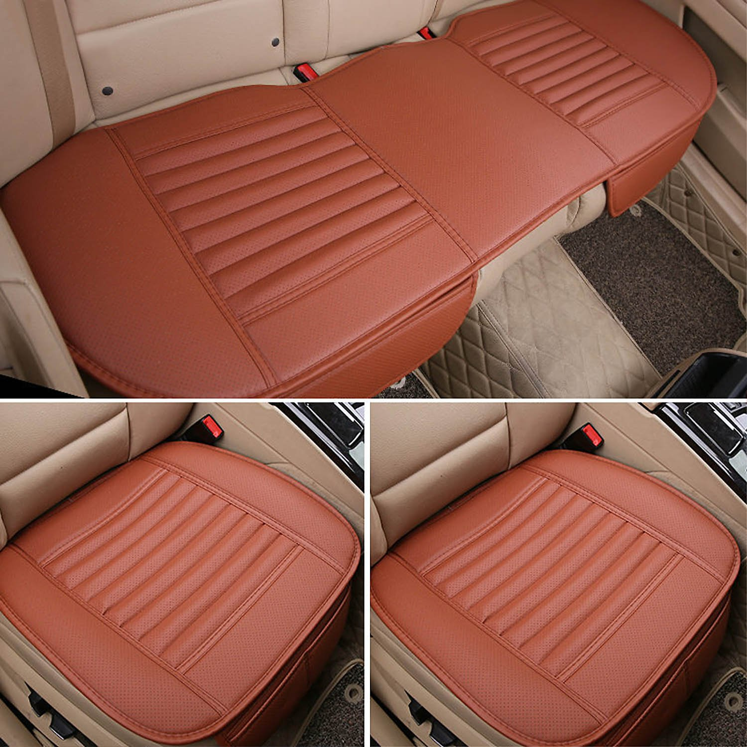 3Pcs Car Seat Cover Universal Non Slip Cushion Pad Mat for Auto Interior/Office Chair with PU Leather Bamboo Charcoal (Brown) by AUTOPDR