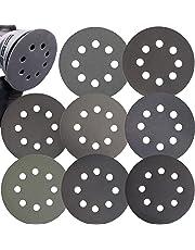 Aewio 56 Pcs 5 inch 8 Holes #320-#2000 Sanding Discs 320 400 600 800 1000 1200 1500 2000 Wet Dry Sandpaper for Random Orbital Sanders (5 inch 8 Hole #320-#2000)