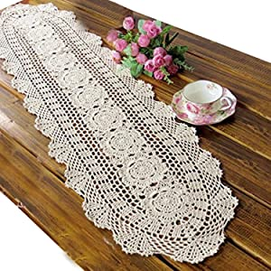 USTIDE Rustic Floral Crochet Table Runner Cotton Beige Lace Table Doilies Oval Table Runners 11.8