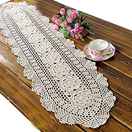 Amazon Com Ustide Handmade Crochet Table Runner Oval Romantic