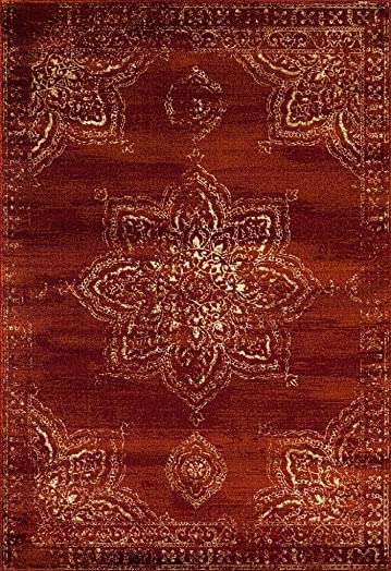 Persian-Rugs 5934 Distressed Burgundy Rust 8 x 10 Area Rug Carpet Large New