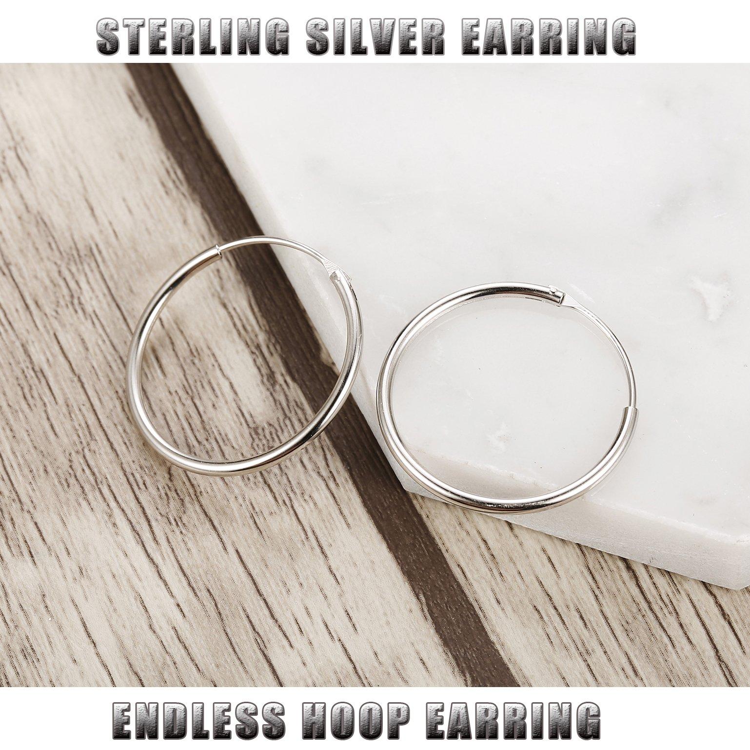FUNRUN JEWELRY 3 Pairs Sterling Silver Hoop Earrings for Women Men Round Earrings Set 10-40MM (B: Platinum-Plated 3 Pairs: 20MM/30MM/40MM) by FUNRUN JEWELRY (Image #5)