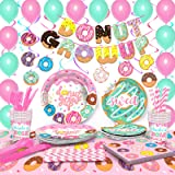 TMCCE Donut Party Supplies Kit,Donut Grow Up Birthday Party Supplies Donut Paper Plates,Cups,Napkins, Straw,Donut Swirls and