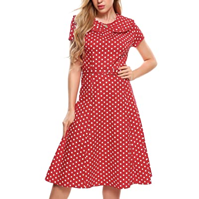 ACEVOG Women's Party Cocktail Dot Retro Vintage Swing Tea Dress with Belt: Clothing
