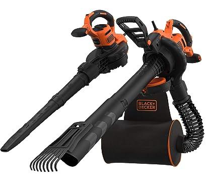 Black+Decker QS BEBLV301 - Aspirador de hojas y soplador eléctrico 3 en 1 (3000 W, con trituradora y rastrillo extraíble, mochila de 72 l, alta ...