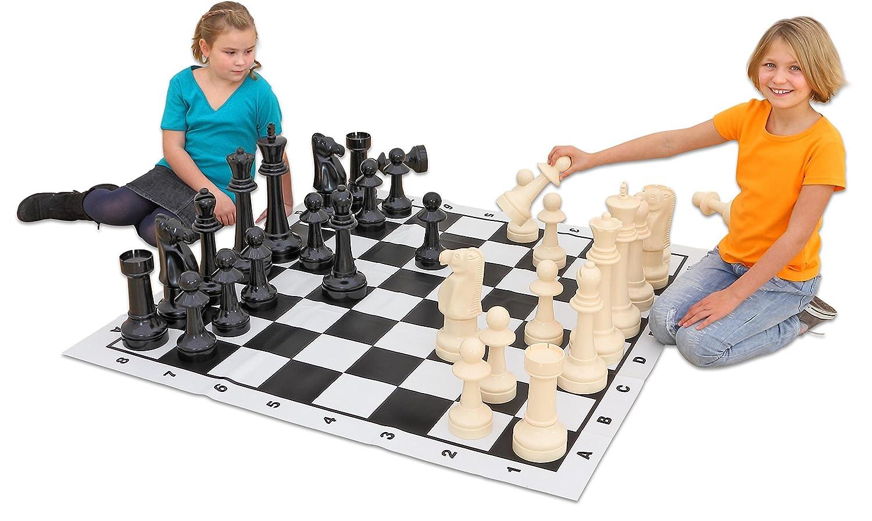 Jumbo Schach, für drinnen und draußen - Schach groß Kinder Jumboschach spielen Pausenhof