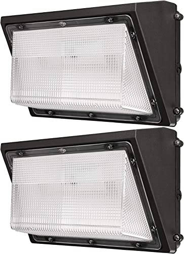 LEONLITE 80W LED Wall Pack, 5700K, 8900 LM, Wet Location, 0-10V Dimmable, 120-277V, Bright Consistent Commercial Outdoor Security Lighting, Pack of 2