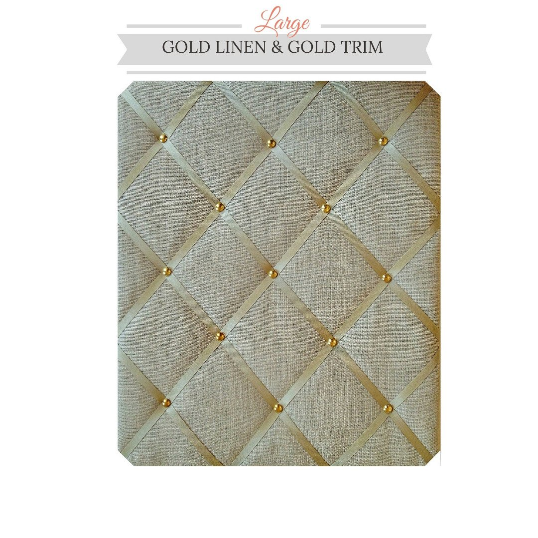 Large Size Gold Linen Memo Board with Gold Studwork