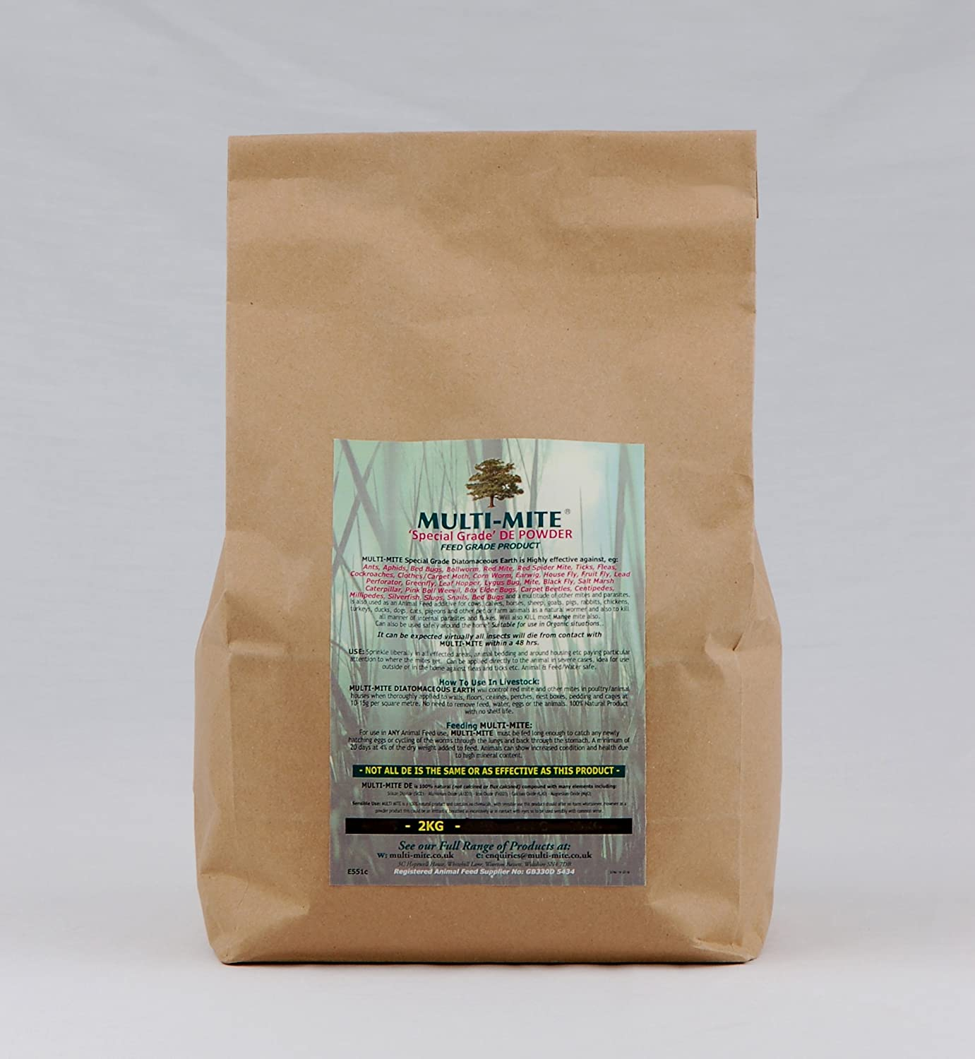 2KG DIATOMACEOUS EARTH Feed Red Mite & Worming DE Powder SPECIAL GRADE DE Multi-Mite® - FREE SHIPPING! MM-2KG