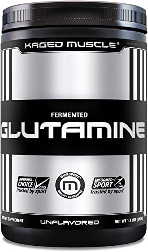 KAGED MUSCLE, L-Glutamine Powder 500 Gram, Vegan, Support Muscle Recovery, Post Workout, Glutamine, Banned-Substance Free, Unflavored, 100 Servings