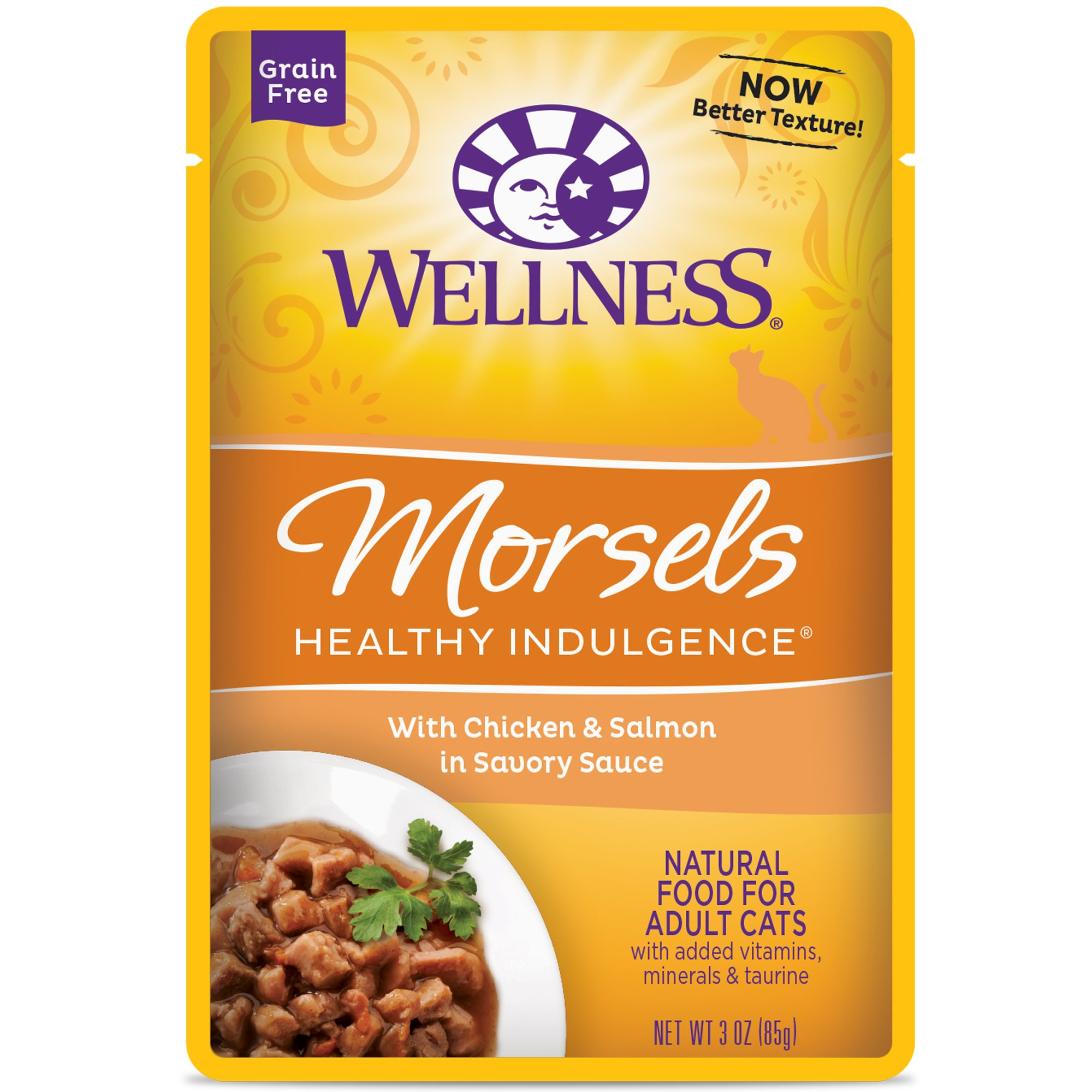 Wellness Healthy Indulgence Natural Grain Free Wet Cat Food, Morsels Chicken & Salmon, 3-Ounce Pouch (Pack of 24)