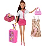 Doll Travel Play Set, Includes 12 Inch Flight Attendant Fashion Doll, Luggage Accessories, Traveling Suitcase, 2 Outfits, Pur
