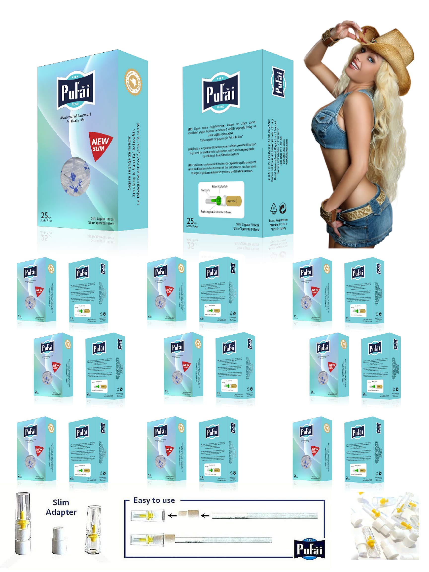 Pufai Cigarette Filters Slim Tar Blocker for 5mm -6mm 250 Pieces in 10 Boxes Turquoise