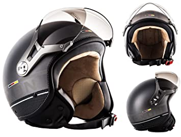 SOXON SP-325-PLUS Titanium Ace · Casco Demi-Jet Cruiser Chopper Piloto