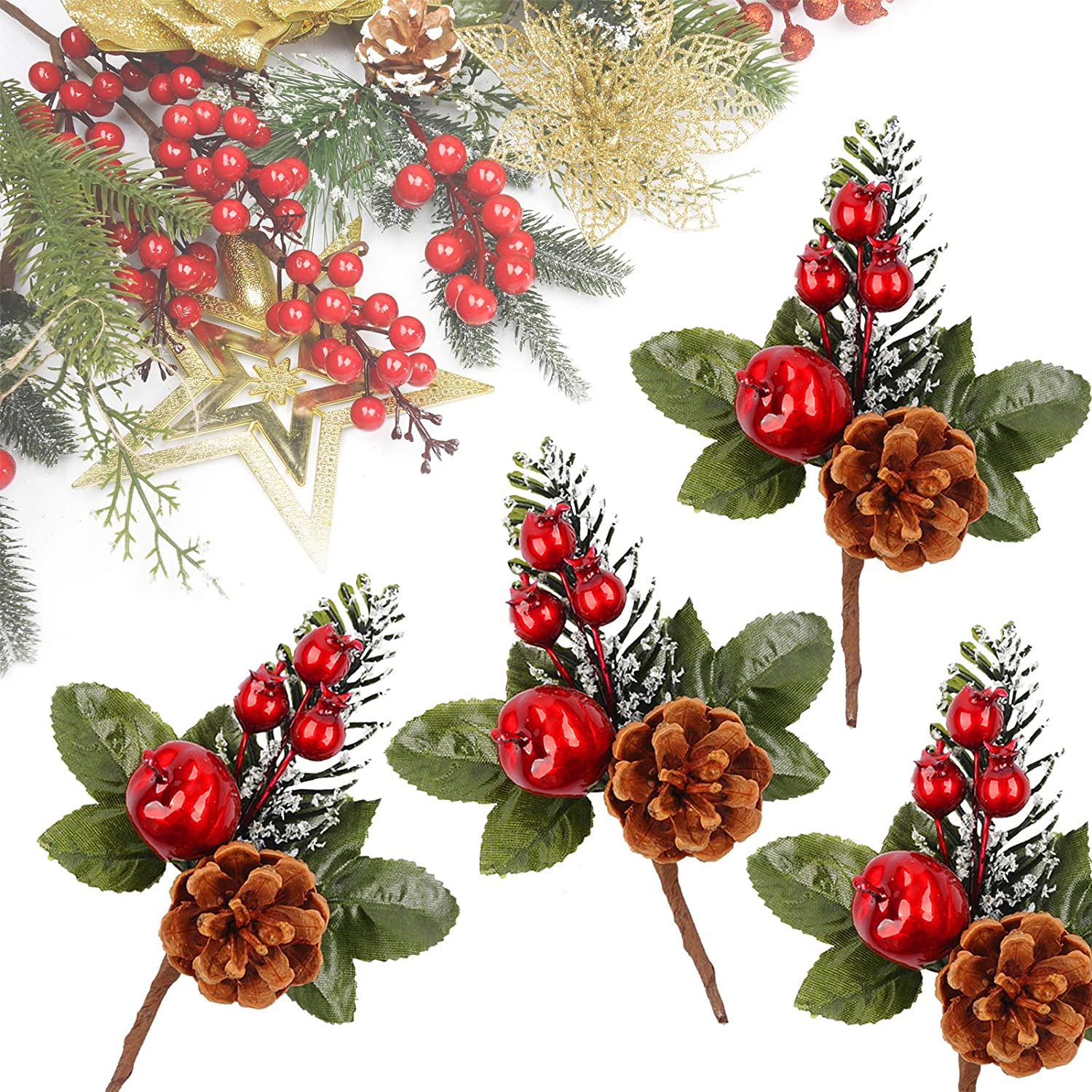 Meiliy 10pcs Artificial Pine Picks Pine Spray Floral Stems Red Berry Picks for Wedding Garden Christmas Tree DIY Craft Decorations