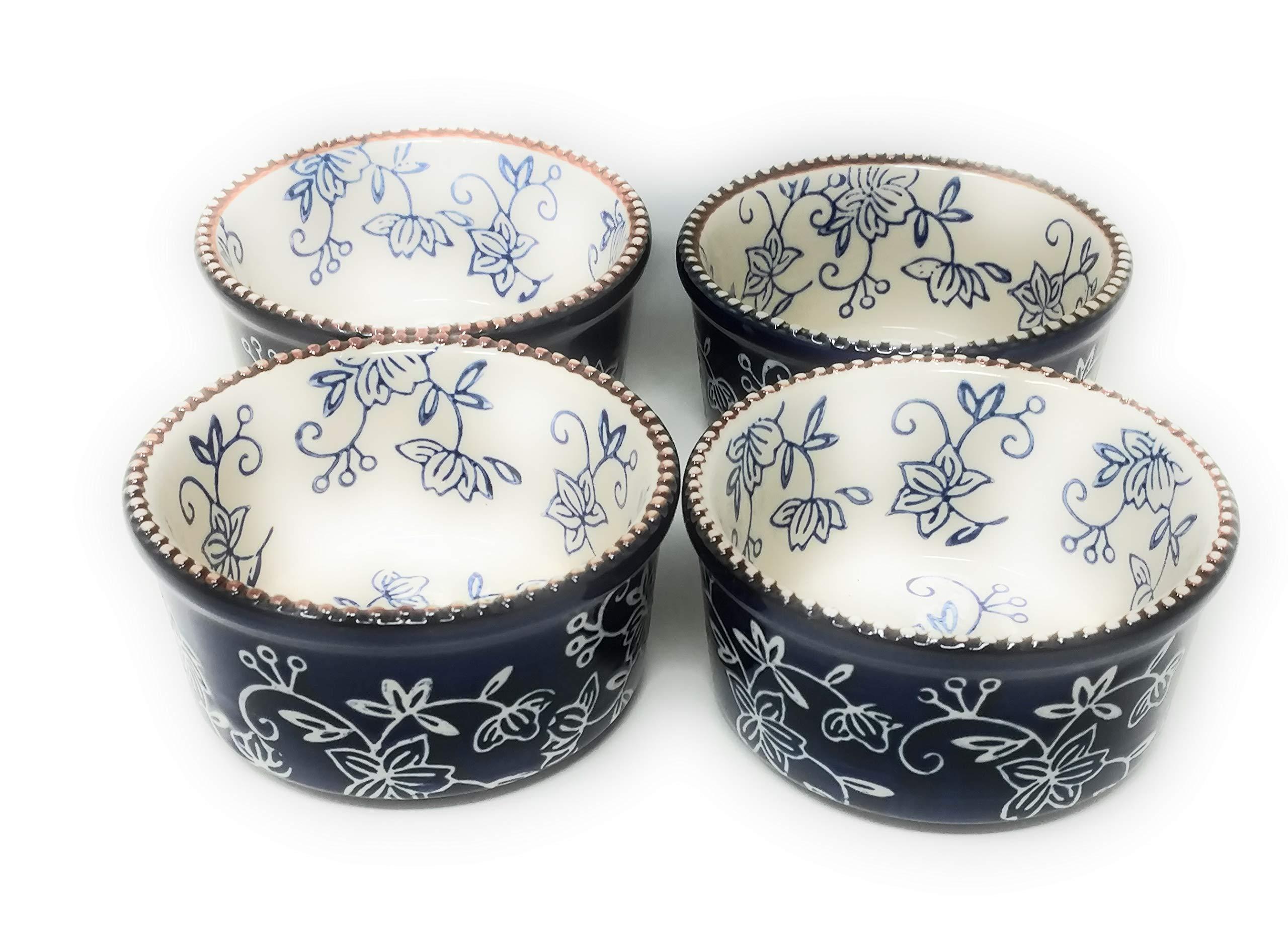 Temp-tations Set-of-4 6oz Round Ramekins Mini Bakers Single Serving (Floral Lace Blue)