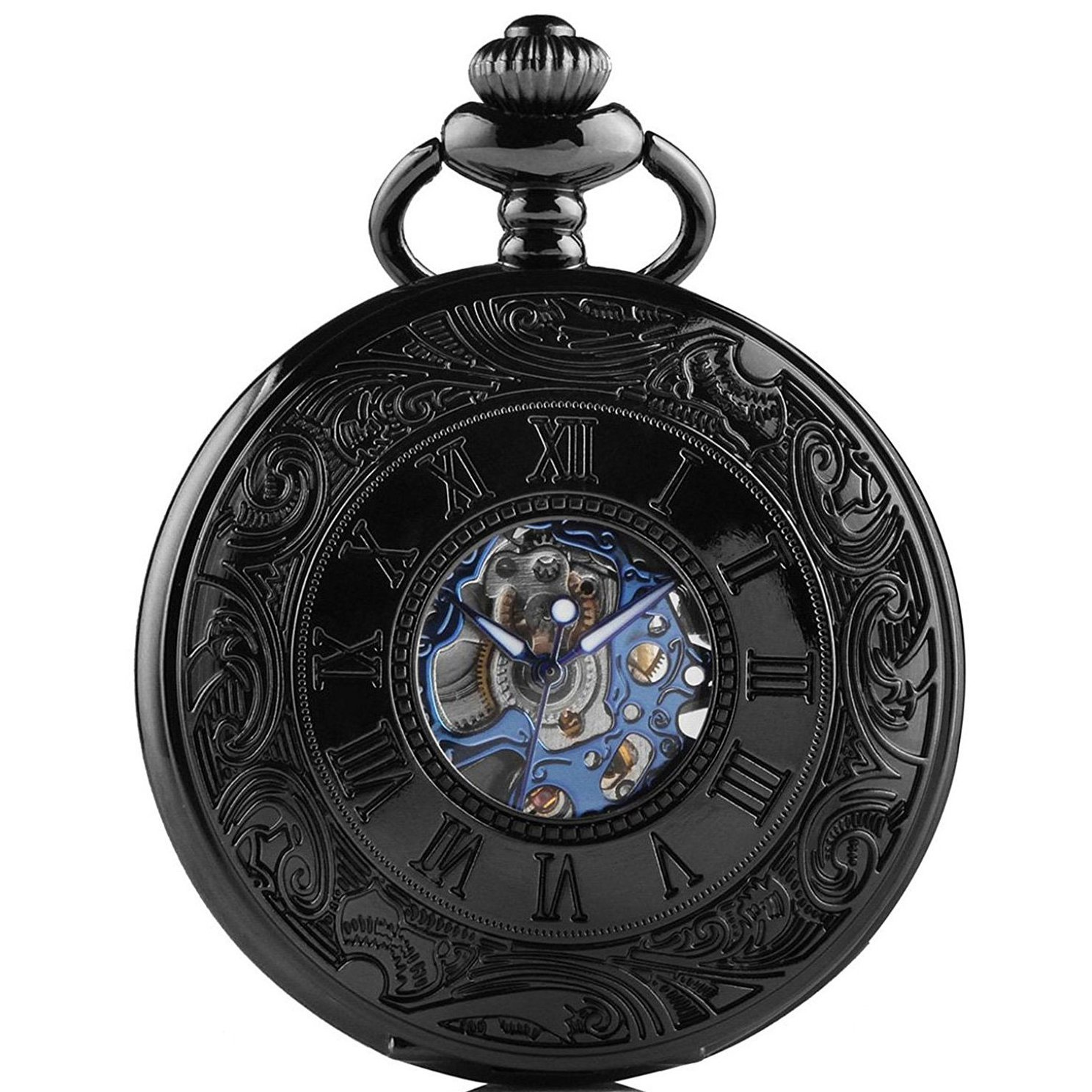 MEIGUANG Steampunk Blue Hands Roman letters Skeleton Mechanical Pocket Watch with Chain for Men by MEIGUANG