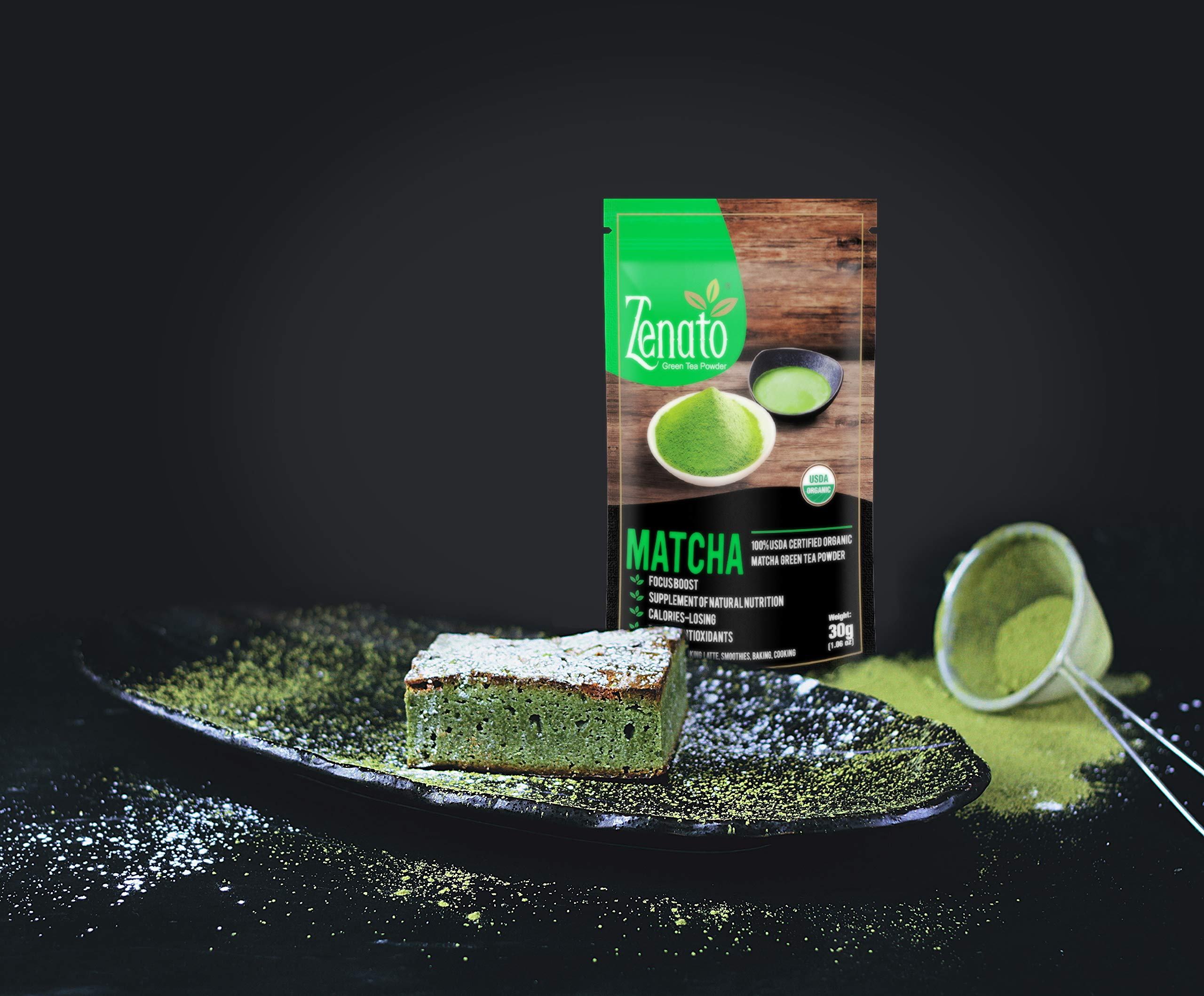 Zenato Matcha Green Tea Powder 15 Serving 30g (1.06 Oz), 100% USDA Organic, GMO Free, for Cooking, Latte, Baking, Ice Cream, Alternative for Coffee by Zenato