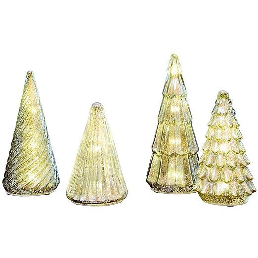 mercury glass trees with led lights set 4 pc set amazoncom grocery gourmet food - Mercury Glass Christmas Trees
