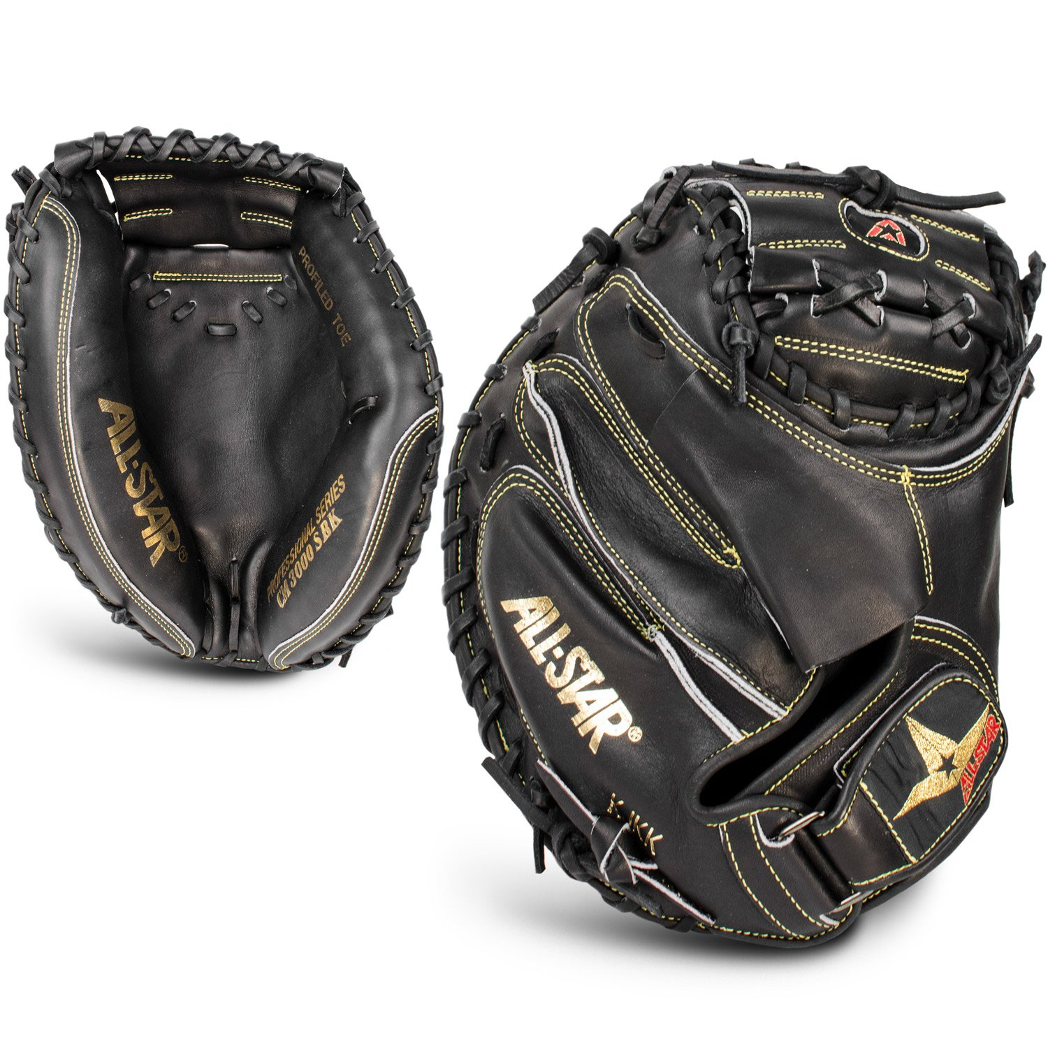 All Star Pro Elite Catchers Baseball Gloves Closed Black 35 Inch Right Hand by All Star