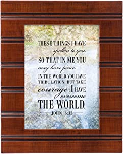 Cottage Garden Take Courage Woodgrain Beaded Board 5 x 7 Table Top and Wall Photo Frame