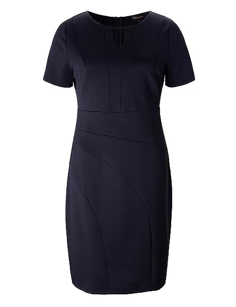 Chicwe Vestidos Elásticos Tallas Grandes Mujeres Vestido en Oficina Trabajo Escote con Abertura Negro 3X