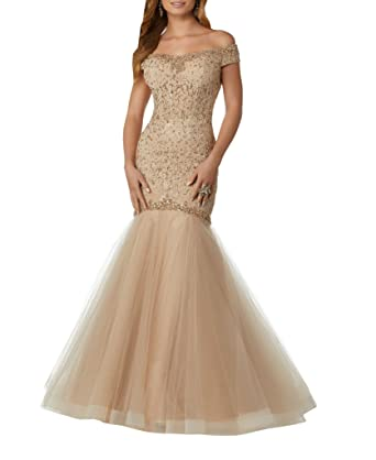 Mollybridal Lace Trumpet Prom Dresses Short Sleeves Crystal Rhinestone Long Tulle Beaded Gold 2