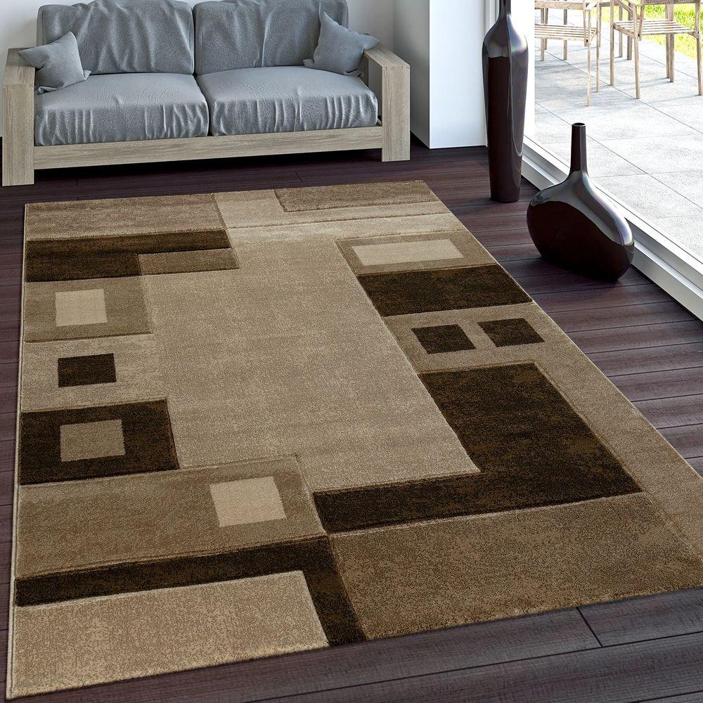 PHC Edler Designer Teppich Konturenschnitt Kariert in Braun Beige Meliert, Grösse 200x290 cm
