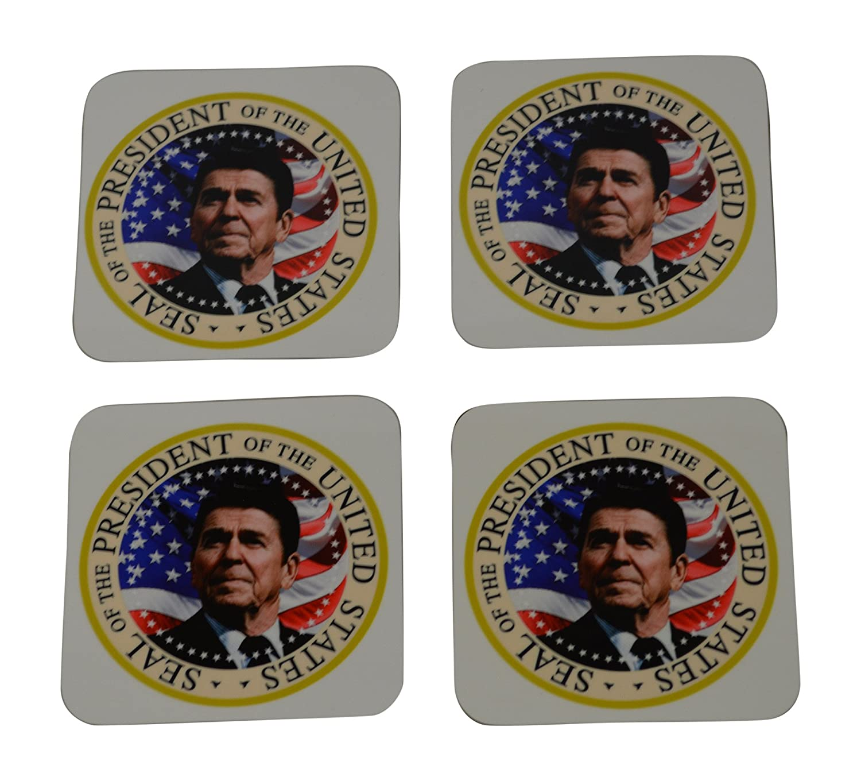 Ronald Reagan Drink Coaster Set Gift Presidential Seal GOP Conservative Republican The Gipper Home Kitchen Bar Barware