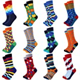 Jeasona Mens Dress Socks Pack Funny Fun Crazy Novelty Cool Colorful Cotton Crew