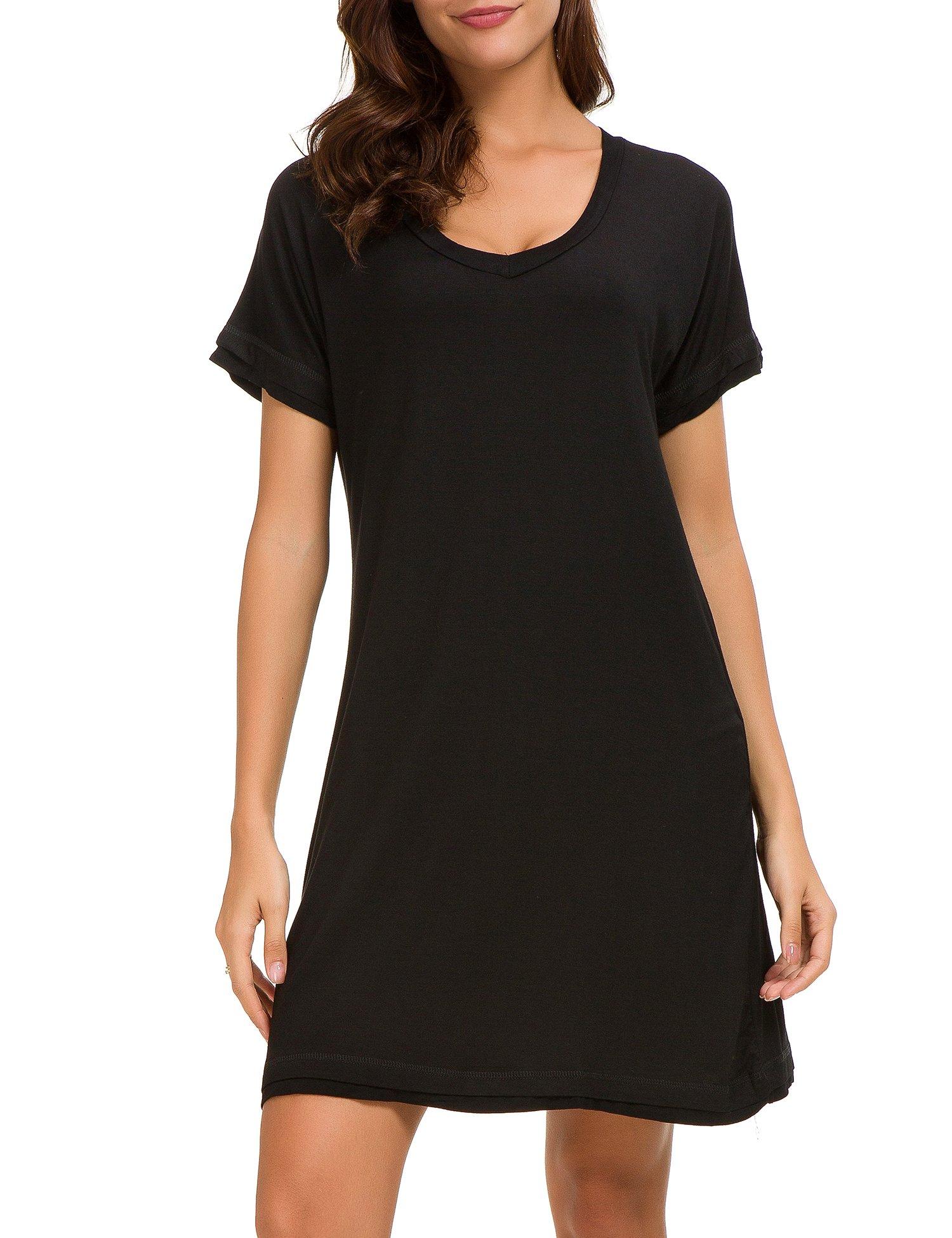 Dolay Women's Sleepwear Cotton Sleep Tee Short Sleeves Knit Sleepshirt (Black, XL)