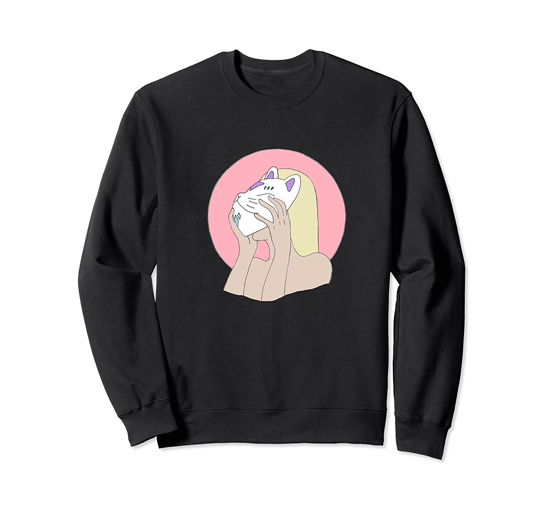 Cute Japanese Anime Style Aesthetic Kitsune Girl Sweatshirt-Colonhue