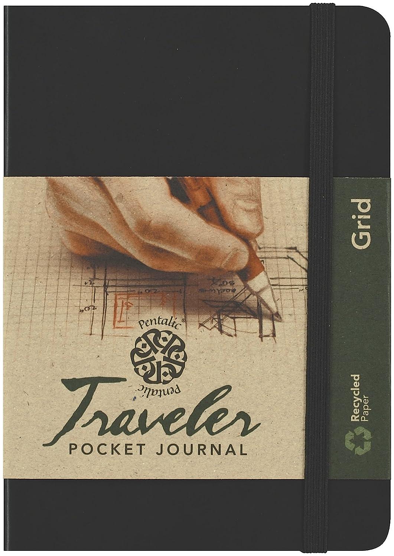 C2F Pentalic Grid Traveler Pocket Journal, schwarz, 6 by 4-Inch C2FA7 PTL-016142-1