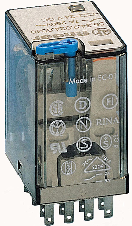 Finder serie 55 - Rele industrial 24vdc 4 contactos 5a pulsador +led+diodo