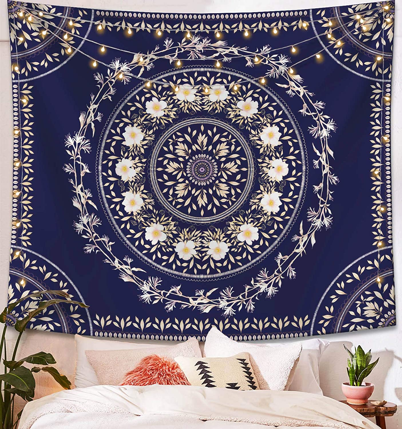 Lifeel Blue Bohemian Tapestry Wall Hanging, Mandala Floral Medallion Hippie Tapestry with White Aesthetic Wreath Design, Navy Wall Decor Blanket for Bedroom Home Dorm, Small 50×60 inches