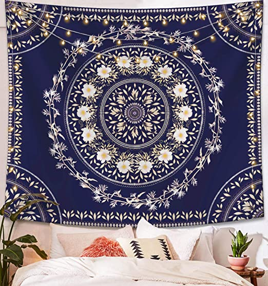Gold and White Floral Medallion Wall Hanging Tapestry Indian Mandala Hippie Bohemian Headboard Wall Hanging Home Decor 60x 80