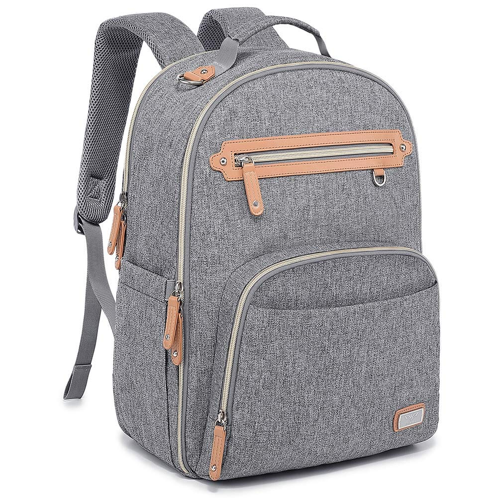 Diaper Bag Backpack, WELAVILA Large Baby Bags with Insulated Pockets & Changing Pad, Multi-Function Unisex Travel Back Pack (Gray) by WV WELAVILA