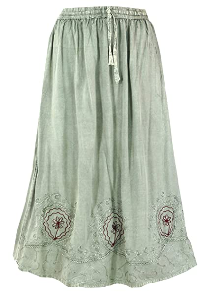 GURU-SHOP, Falda Hippie Boho Bordada, Falda Maxi India Gris ...