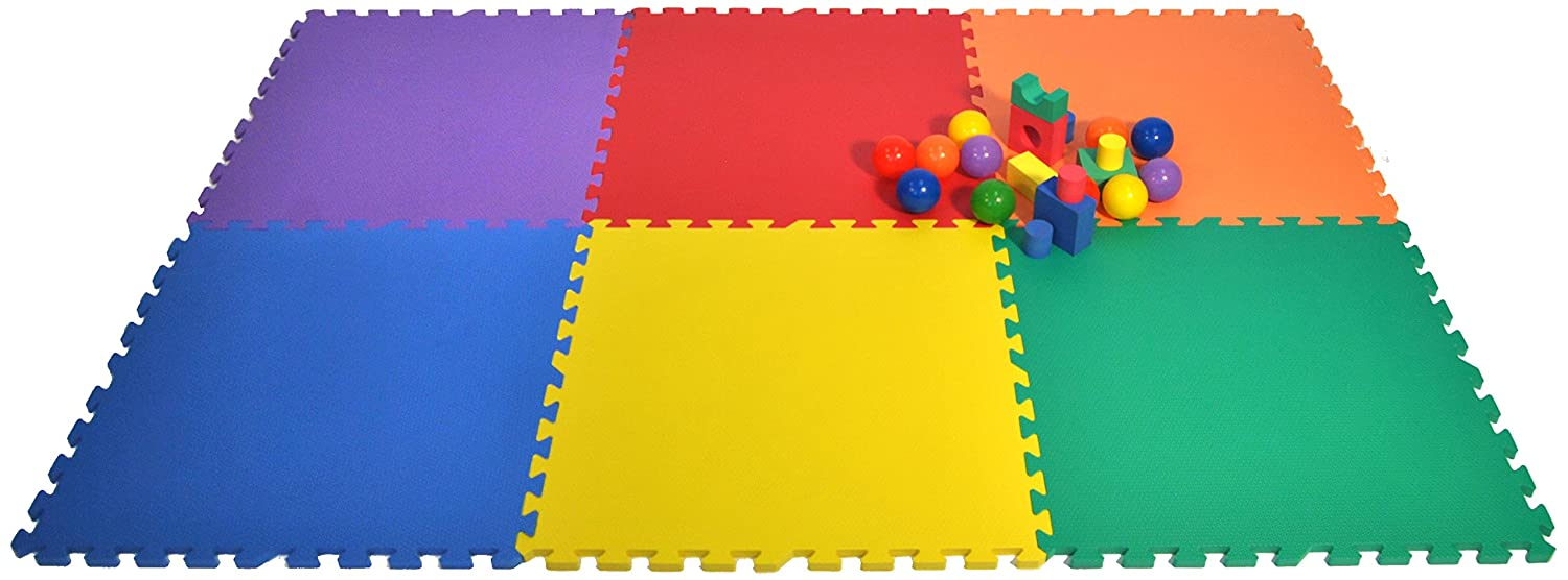 Wonder Mat 6 Piece Non-Toxic Non-Recycled Extra Thick Rainbow Playmats, Red/Orange/Yellow/Green/Blue/Purple, 24 x 24 x 9/16 American Creative Team Inc. S06-MX