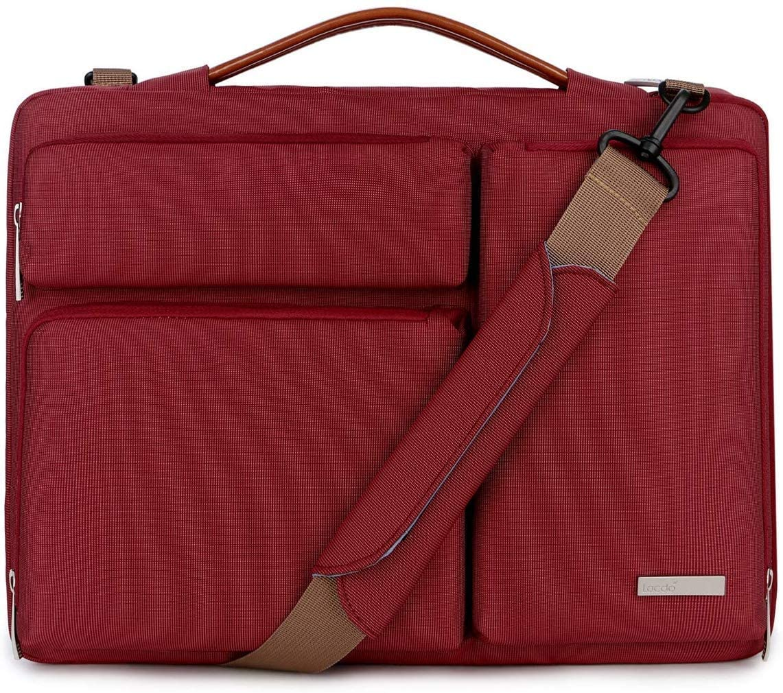 Lacdo 15.6 Inch Laptop Messenger Shoulder Bag, 360° Protective Sleeve Case for 15.6 Inch Acer Aspire 5, 7 E 15, Predator Helios 300, Flagship, Inspiron, Ideapad 330, HP Pavilion, ASUS Notebook, Red