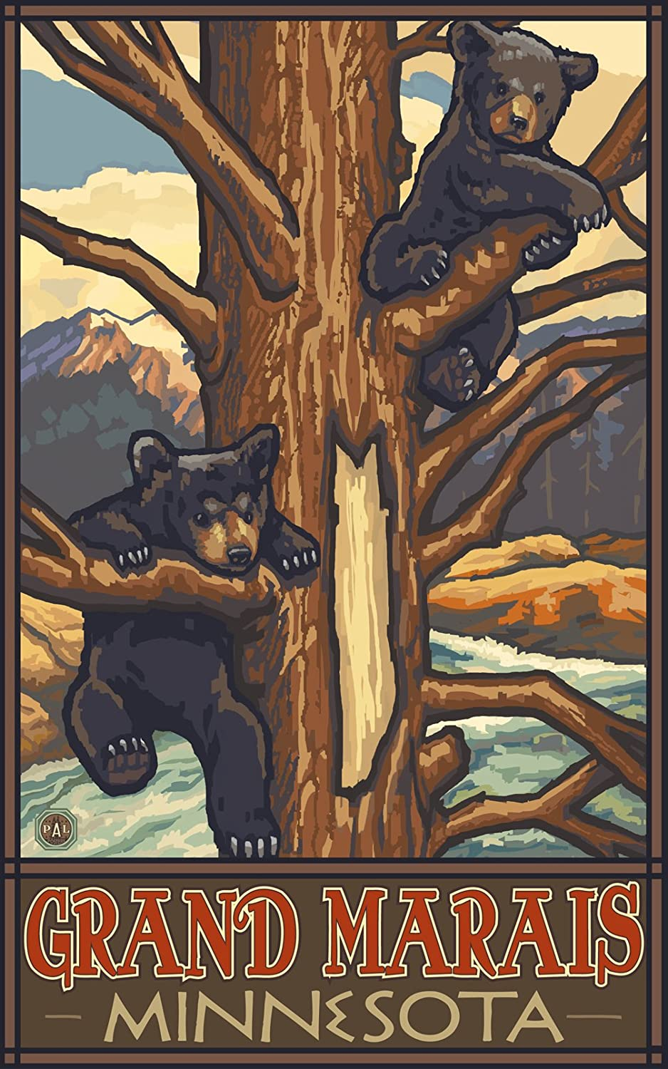 Northwest Art Mall Two Bear Cubs Grand Mariais Minnesota Artwork by Paul A 11-Inch by 17-Inch Lanquist