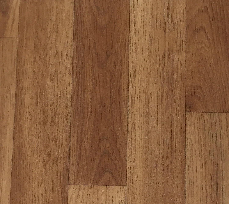 CV PVC-Belag verf/ügbar in der Breite 300 cm /& in der L/änge 350 cm CV-Boden wird in ben/ötigter Gr/ö/ße als Meterware geliefert /& robust PVC Vinyl-Bodenbelag in Nussbaum Optik braun
