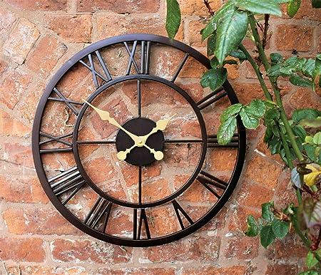 YISYI Amplio Interior Jardin Exterior Pared Reloj NUMEROS Romanos Gigante Abierto Metal DE Cara: Amazon.es: Hogar